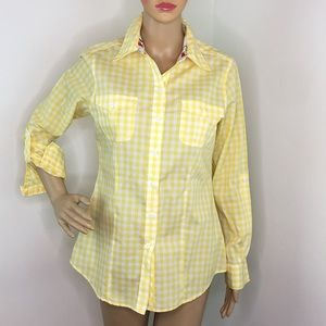 Foxcroft Yellow & White Checkered Button Down